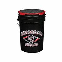 Diamond 6-Gallon Ball Bucket with Lid, Black