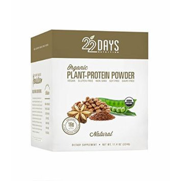 22 Days Nutrition Organic Plant Protein Powder, Natural, 12 Count