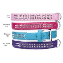 East Side Collection Sparkle Gemstone Dog Collar Raspberry 14
