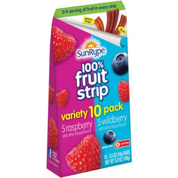 SunRype Rasberry/Wildberry 100% Fruit Strips, 0.5 oz, 10 count