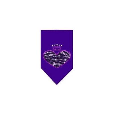 Ahi Zebra Heart Rhinestone Bandana Purple Large