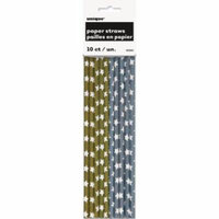 Silver and Gold Stars Paper Straws, 10-Count