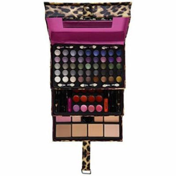 Ivation All-in-one Makeup Kit in Highly Fashionable Leopard Leather-look Train Case - Contains Vast Collection of Eyeshadow, Blushes, Powder, Eyeliner, Lip Gloss & More