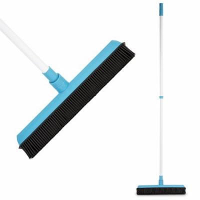 Rubber Broom - Soft Natural Rubber Bristles with Built-in Squeegee Edge, with Telescopic Rod Adjustable - Water Resistant - Perfect for Cat/Dog Hair