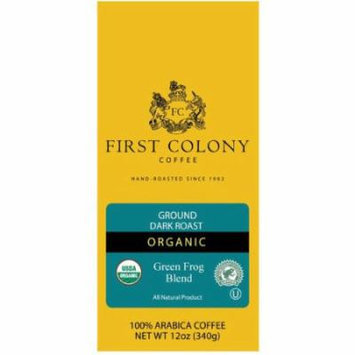 First Colony Organic Green Frog Blend Organic Dark Roast Ground Coffee, 12 oz
