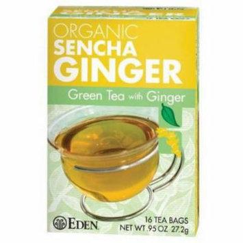 Eden Sencha Ginger Green Tea, Organic , 16 Count (Pack of 6)