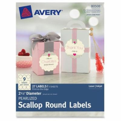 Avery Pearlized Scallop Round Labels, 27pk
