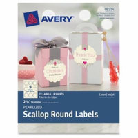 Avery Pearlized Scallop Round Labels, 72pk