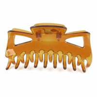 Brown Spring Loaded Press Plastic Barrette Hair Clip Hairpin for Ladies