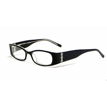 Calabria Viv 696 in Black-Crystal Designer Reading Glass Frames ; Demo Lens