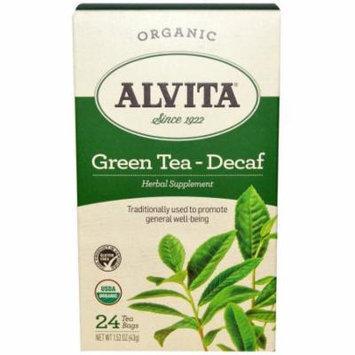 Alvita Organic Decaf Green Tea Herbal Supplement Tea, 24 count, 1.52 oz