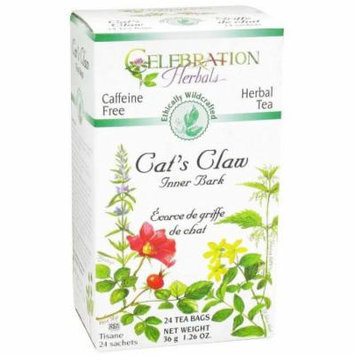 Celebration Herbals Cat's Claw Inner Bark Herbal Tea, 24 count, 1.26 oz, (Pack of 3)
