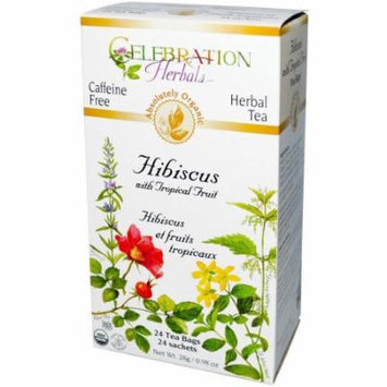 Celebration Herbals Hibiscus with Tropical Fruit Herbal Tea, 24 count, 0.98 oz, (Pack of 3)
