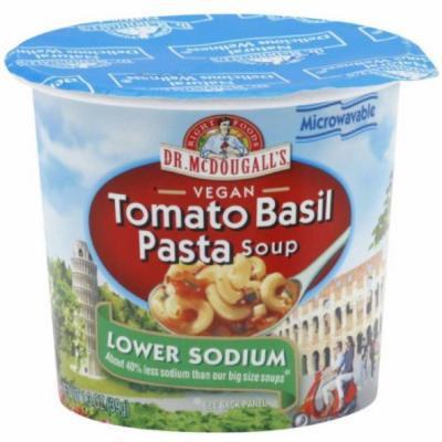 Dr. McDougall's Right Foods Lower Sodium Vegan Tomato Basil Pasta Soup, 1.3 oz, (Pack of 6)