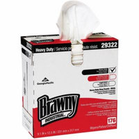 Brawny Industrial White Heavyweight HEF Disposable Shop Towels, 176 wipes, (Pack of 10)