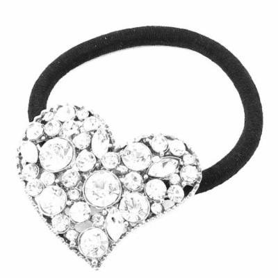 Plastic White Faux Diamond Heart Shape Accent Black Elastic Ponytail Holder