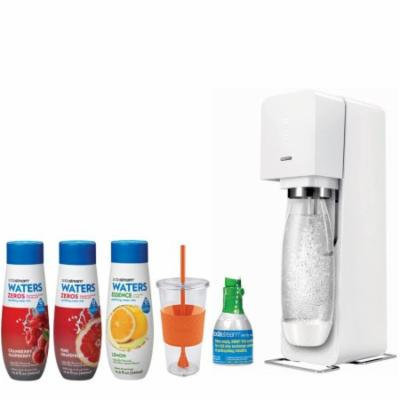 SodaStream Source Home Soda Maker White Starter Kit w/ 24 Ounce Togo Cup, Waters Zeros Pink Grapefruit Zero Calorie, Waters Zeros Cranberry Raspberry Zero Calorie and Waters Essence Lemon Flavors