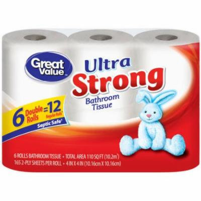 Great Value Ultra Strong Double Roll Bath Tissue, 165 sheets, 6 rolls