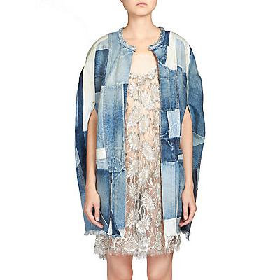 Saint Laurent Patchwork Denim Cape