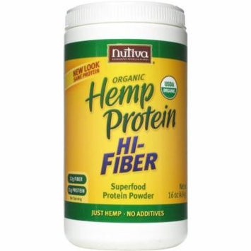 Nutiva Organic Hemp Protein Hi-Fiber Superfood Protein Powder, 16 oz