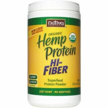 Nutiva Organic Hemp Protein Hi-Fiber Superfood Protein Powder, 16 oz