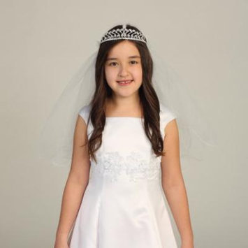 Angels Garment Girls White Rhinestone Tiara Pencil Edge Veil