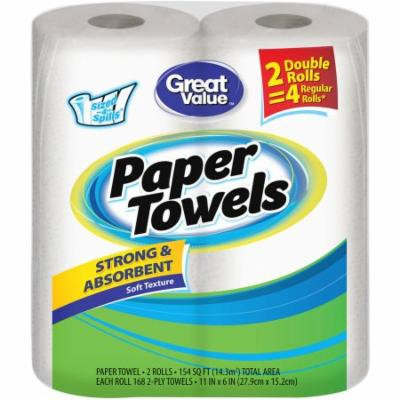 Great Value Sized-4-Spills Double Roll Paper Towels, White, 168 sheets, 2 rolls