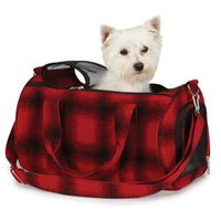 East Side Collection Polyester and Wool Pet Buffalo Plaid Carrier, Small, Red