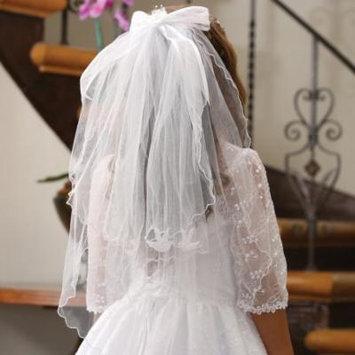 Angels Garment Girls White Rhinestone Tiara Double Layered Pencil Edge Veil