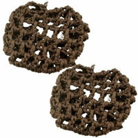 2 Pcs Elastic Nylon Knot Hair Ties Bands Mesh Net Brown