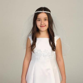 Angels Garment Girls White Rhinestone Pearl Bead Tiara Pencil Edge Veil