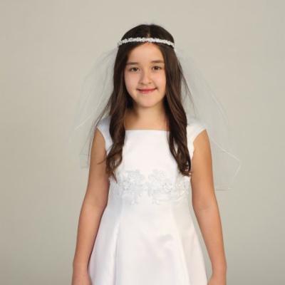 Angels Garment Girls White Rhinestone Pearl Bead Tiara Pencil Edge Veil
