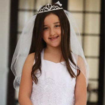 Angels Garment Girls White Rhinestone Tiara Organza Bow Veil