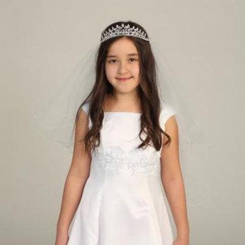 Angels Garment Girls White Glitter Rhinestone Tiara Pencil Edge Veil