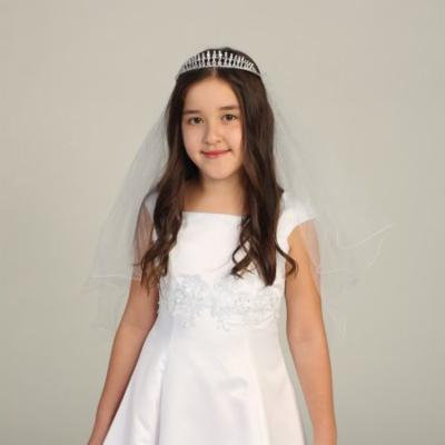 Angels Garment Girls White Rhinestone Satin Ribbon Pencil Edge Veil Tiara