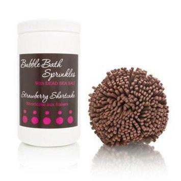 Upper Canada Bath Bakery Bubble Bath Sprinkles + Bath Puff - Strawberry Shortcake