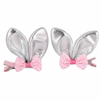 2 Pcs Nylon Sparkly Rabbit Ear Bowknot Decorated Hair Clip Silver Tone for Girl