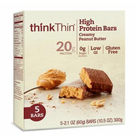 thinkThin High Protein Bars, Creamy Peanut Butter, 5 Count (Pack of 6)