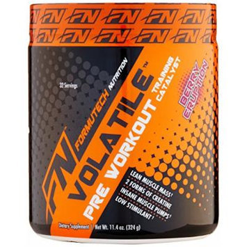 Formutech Nutrition Volatile Pre Workout Powder, 2 Forms of Creatine for Huge Muscle Pumps and Lean Muscle Mass, Low Stimulant Formula, Berry Eruption, 32 Serving