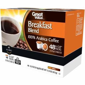 Great Value Breakfast Blend Medium Roast Coffee K-Cups, 0.33 oz, 48 count