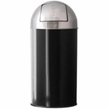 Witt Industries 12RTDT-BKS Removable Dome Top Waste Receptacle With Push Door - 12 Gallon