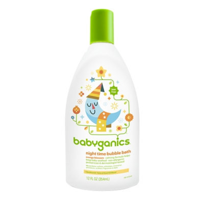 Babyganics Night Time Bubble Bath, Natural Orange Blossom, 12 fl oz