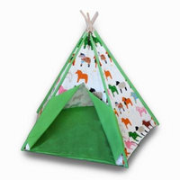 Children`s Canvas Teepee Tent Whimsical Horse Print Green Trim 72 In.
