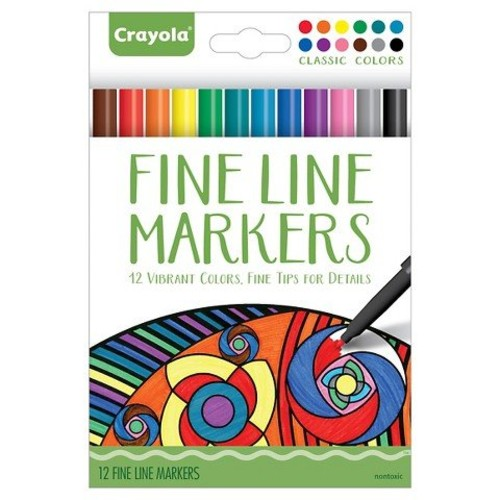 Crayola Aged Up Adult Coloring 12ct Fineline Markers 12 Vibrant Colors with Fine Tips for Details