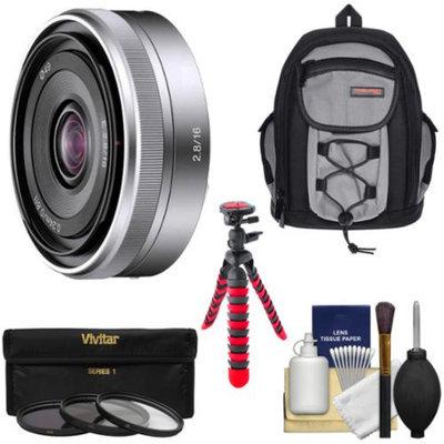 Sony Alpha E-Mount E 16mm f/2.8 Lens with Sling Backpack + 3 Filters + Flex Tripod + Kit for A7, A7R, A7S, A3000, A5000, A5100, A6000 Cameras