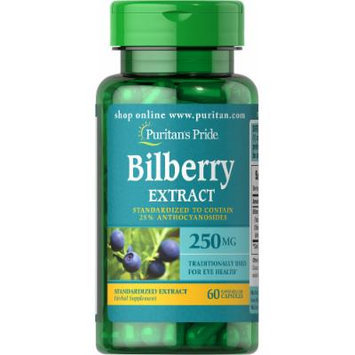 Puritan's Pride Bilberry Standardized Extract 250 mg-60 Capsules