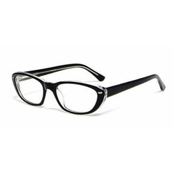 Calabria Viv Designer Reading Glasses 810 in Black Crystal :: Demo Lens