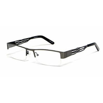 Calabria Viv Designer Reading Glasses 376 in Gun-Metal & Black :: Demo Lens