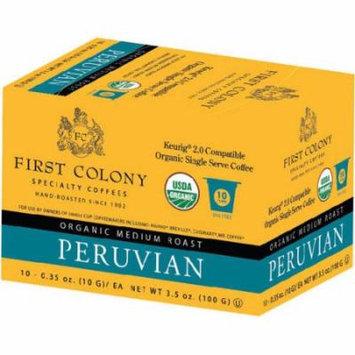 First Colony Organic Medium Roast Peruvian Coffee Single Serve Cups, .35 oz, 10 count