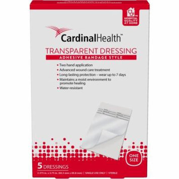 Cardinal Health Adhesive Bandage Style Transparent Dressing, 5 count
